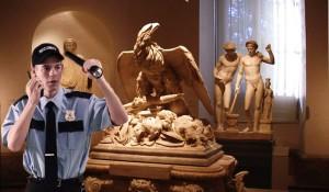 Vigilante en un museo