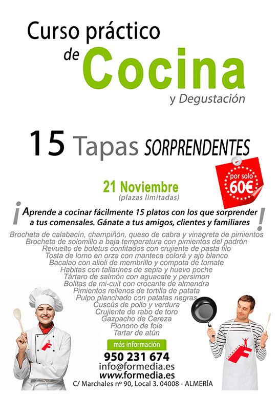 15 Tapas Sorprendentes Curso de cocina y degustación en Almeria