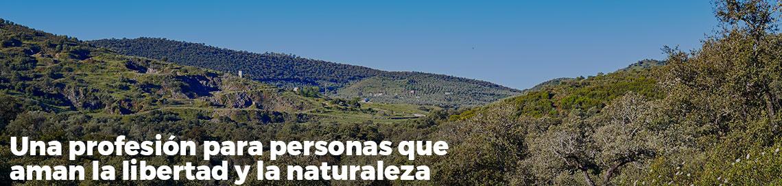 Campo, montañas y casas. Lema: Una profesión para los que aman la libertad y la naturaleza.